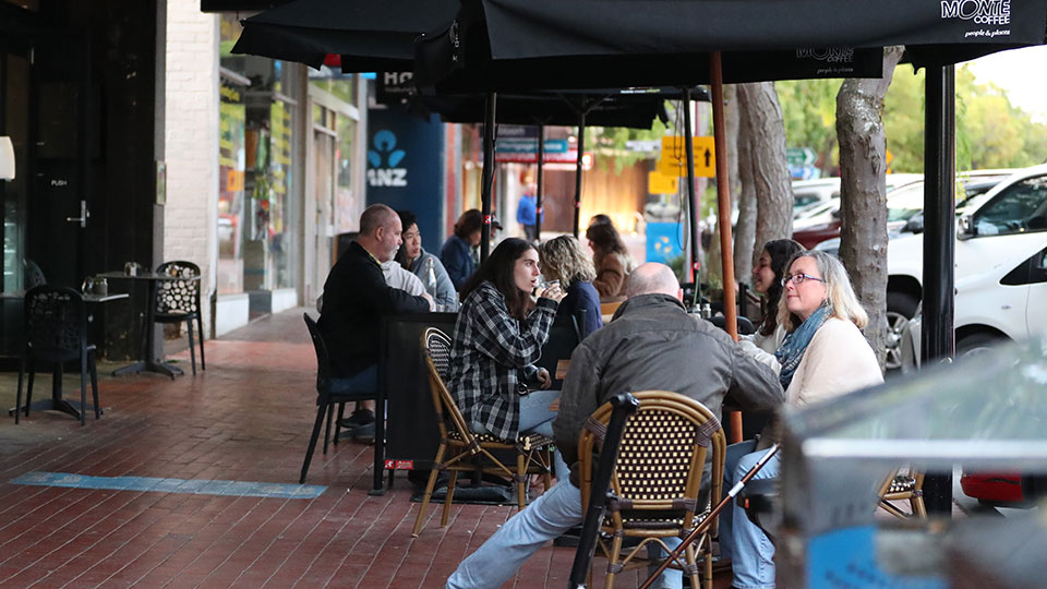 Outside cafe seating in Croydon Main Street